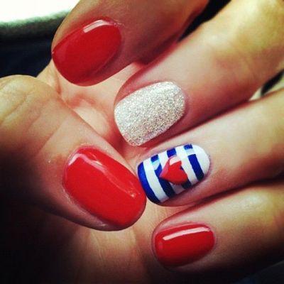 Red White & Blue Nails - homerandruth.com
