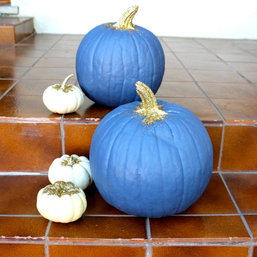 Painted Pumpkin with Gold Glitter 1