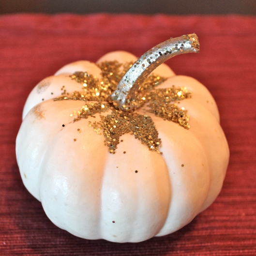 Painted Pumpkins with Gold Glitter
