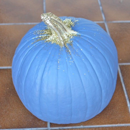 Painted Pumpkin with Gold Glitter 3